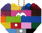 """SWAG Hip Hop colorful necklace - Chunky heart pendant - made from LEGO (R) bricks on a 24"""" Silver/Gold plated ballchain"""