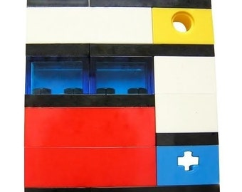 Geek chic Primary Colors brooch - made from LEGO (R) bricks on stretchy cords - MONDRIAN Bauhaus De Stijl