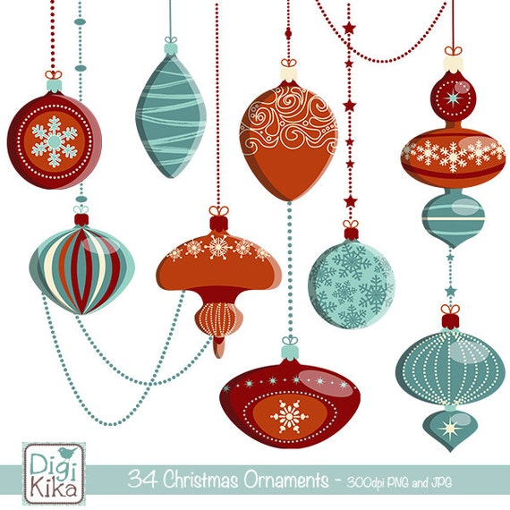Christmas Ornaments Clipart, Christmas Clipart, Vector Christmas ...