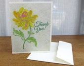 Thank You Card / Vintage Yellow Embroidered Flower Print / Sleeved A2 Size with Envelope