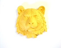 Small Faux Taxidermy Tiger Head wall mount wall hanging in yellow // nursery decor // office decor // safari animal // fake animal // mini