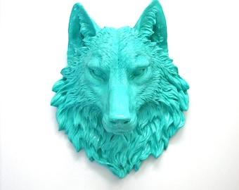 AQUA Large Faux Taxidermy Wolf Head wall mount wall hanging in AQUA // wall decor // home decor / nursery / office / kids room /pop of color
