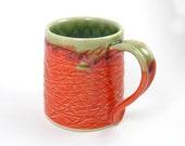 SALE! Large Coffee Mug, Tea cup, Sunset Orange southwestern design