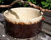 Rustic Driftwood Handle Round Textured Ceramic Pot