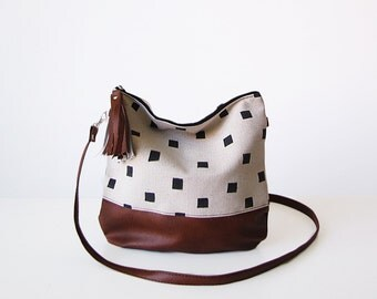 Geometric print, Crossbody bag, Square print, Canvas and Vegan Leather, Slouchy Messanger bag, Shoulder bag, Tassels, Clutch purse