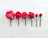 Red Rose Hair Pins for Rustic Weddings. Handmade Paper Hair Accessories. Woodland Garden Botanical Gifts. Bright Red Bridal Party Presents.