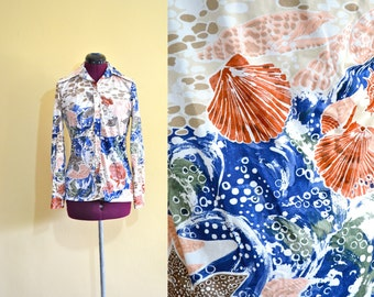 1970s Vintage Seashell Sea Life Top size M L bust 38