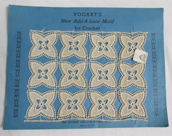 """Vogart's New """"Add-A Lace"""" Motif for Crochet With Original Instructions On The Back Of the Page"""