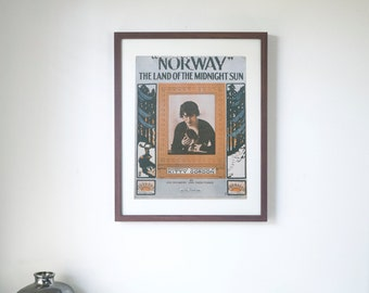 """Norway The Land of the Midnight Sun - Vintage Piano Sheet Music Print - 16"""" x 20"""" Framed  FREE SHIPPING"""