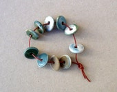 Tiny Porcelain Disc Beads ,Multi Color  Porcelain Rondelles , Jewelry Supplies , Earring Supplies
