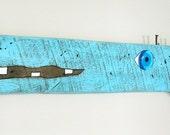 PONDS de Leon #7, Textured reclaimed wood fish sculpture, fish wall art, blue fish, folk art