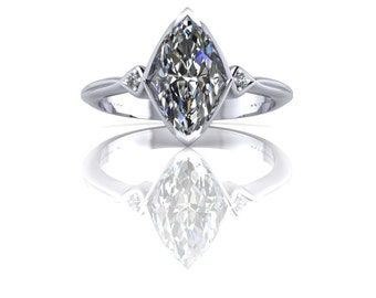 "1CT Marquise Diamond Inverted ""V"" Diamond Accent Ring 14K Gold"