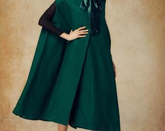 Amy Green Wool Winter Coat, Cashmere Dress Coat, Wool Cloak, Wool Cape, Wool Jacket in black, red, grey
