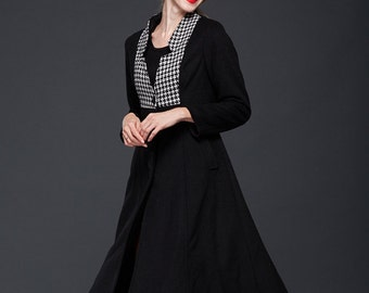 Winter Wool Coat in Black, Wool Cape, Contrast Wool Coat Jacket, Long Coat, Cashmere Coat