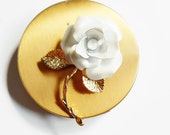 White Rose Pin, Vintage Large Flower Brooch, Gold Leaves Stem, Light Silvery Frosty White Petals, Gift Idea for Women