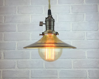 Hanging Pendant Light - Industrial Lighting - Glass Shade -  Hanging Edison Bulb - Modern Pendants