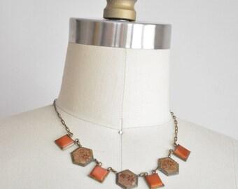 30s Woman of Flowers necklace/ vintage 1930s enamel necklace/ vintage floral brass necklace