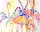 Flamingo Dance-Giclee by Jen Callahan Canvas Wrap