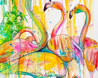 Sarasota Flamingo-Giclee by Jen Callahan Canvas Wrap