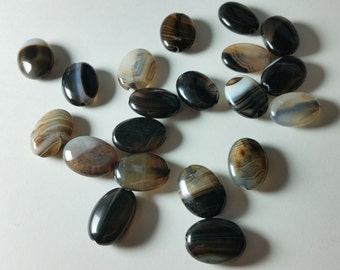 Botswana Black White Brown Lace Agate Oval Puff Beads 17mm - 18mm