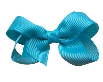 3 inch turquoise hair bow - blue bow, hair clip, baby bow, toddler bow, girls hair bows, turquoise bows, 3 inch bows, boutique bows