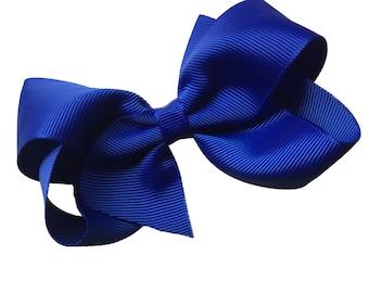 4 inch cobalt blue hair bow - blue bow, hair bows, girls hair bows, toddler hair bows, baby bows, boutique bows, 4 inch hair bows, hair bow