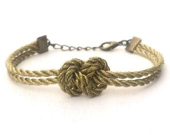 Infinity Nautical Rope Bracelet Metallic Gold Figure Eight Knot Bracelet