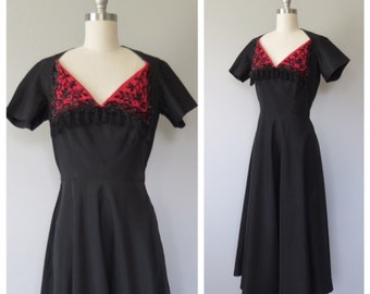 40s party dress size xs-small / 40s beaded dress