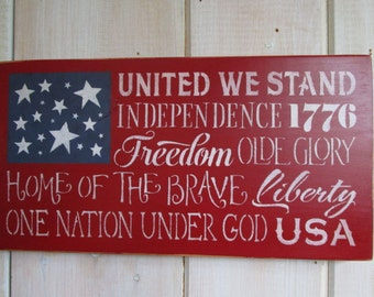Made to Order Sign, American Flag - Patriotic Quotes, Your Color Choice, Custom Sign, Americana Sign, US Flag, Patriotic Decor