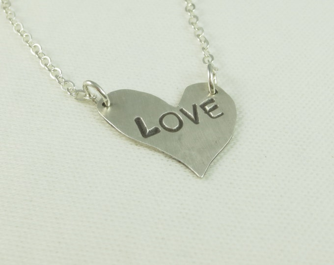 Heart Charm - Love Charm - Heart Pendant - Love Pendant - Hand Cut - Hand Hammered - Hand Stamped - Sterling Silver - 14k Gold Fill