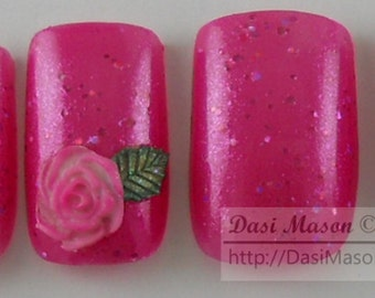 3D Roses on Dark Pink Instant Acrylic Nail Set