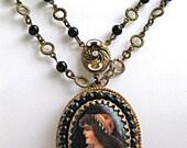 Vintage Czech Portrait Pendant, Black Glass Beads, Painted Porcelain Image, Max Neiger Style Necklace, Victorian Revival
