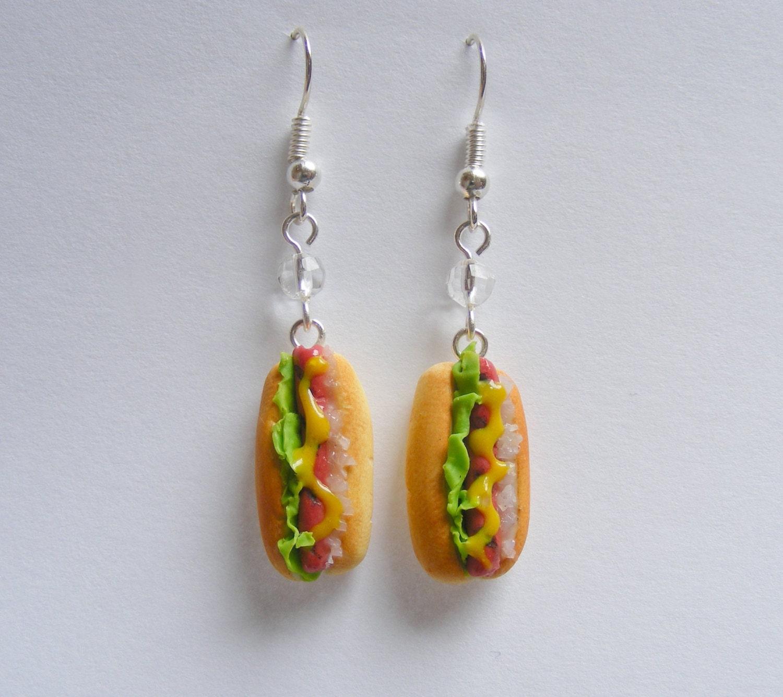 Hot Dog Earrings Miniature Food Jewelry Food Charm Food