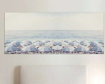 Beach photography canvas, beach umbrella print, wall decor, extra large wall print, seaside canvas, blue decor, French Riviera