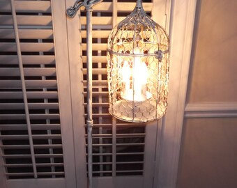 Chandelier floor Lamp ,vintage birdcage chandelier light shabby chic  chandelier, chippy , french farmhouse floor lamp this lamp has