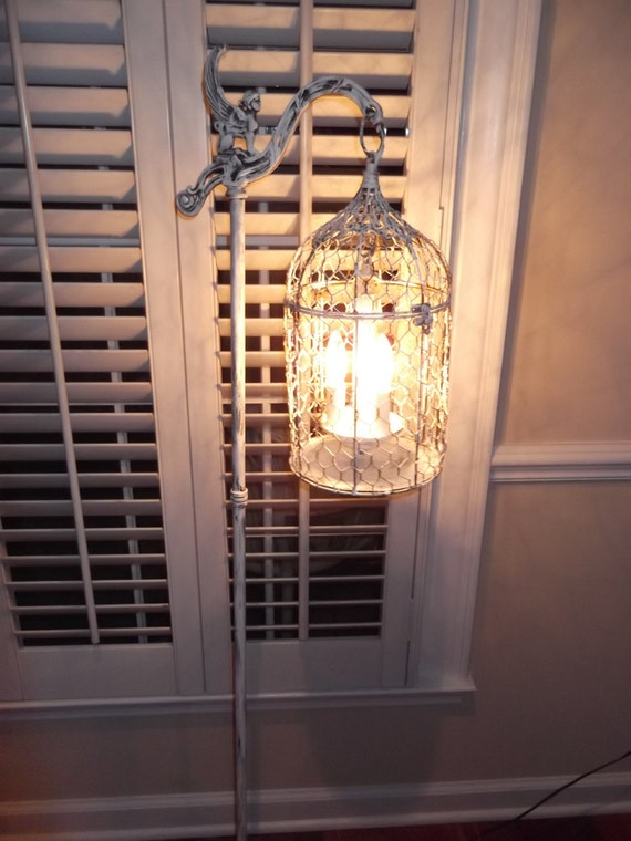 Chandelier floor Lamp ,vintage birdcage chandelier light shabby chic  chandelier, chippy , french farmhouse