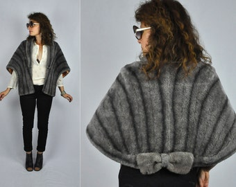 Vintage Streaked Gray Faux Fur Cape Capelet Stole Shawl Shrug with BOW Mid Century Stylish 50s 60s One Size Fits Most Free Size