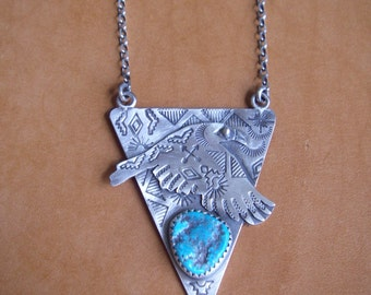 Sterling Silver Raven Pendant with Turquoise