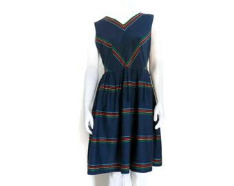 Vintage Rockabilly Dress Navy Blue Cotton with Rainbow Chevron Stripes