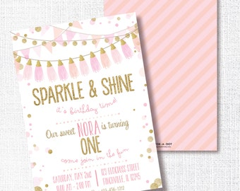 Sparkle and Shine Birthday Party Invitation, Printable, Pink and Gold Invite, Blush Pink, Gold Glitter, Tassel 1st, First, Confetti Garland