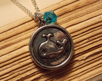 Blue and Silver Whale Necklace