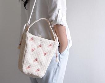 MaMa pink top handle bag, summer beach style small handbag