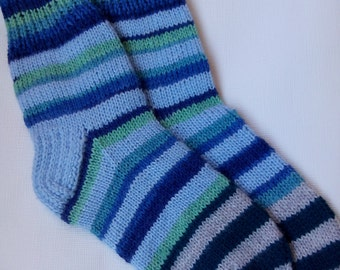 Hand Knitted Wool Socks -Colorful for Women - Size Medium-US W7,EU38