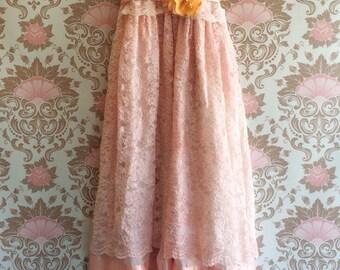 Sale blush & off white ruffled chiffon alencon lace boho wedding dress by mermaid miss k
