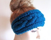 SALE Cable Headbands Knit Ear Warmers Button Aqua Teal Blue Fall Accessories Headcovers Womens Girls Head wraps
