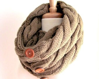 Infinity Loop Scarf Braided Cable Knit Neckwarmer Taupe Brown Scarves with Buttons Women Girls Accessories