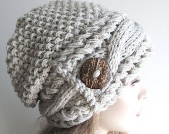 Slouchy Beanie Slouch Cable Hats Oversized Baggy Beret Button womens fall winter accessory Light Grey Linen Gray Super Chunky Hand Made Knit