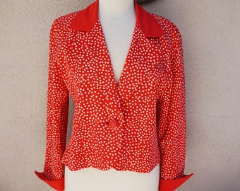 80's Bright Red Blazer, Red Silk Blazer, Polkadot Blazer, Fun, Unique Blazer, Preppy, Conservative