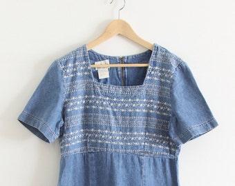 Vintage Denim Embroidered Short Sleeve Dress