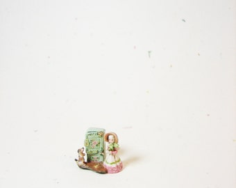 Tiny Tiny Old Mother Hubbard Mechanical Toy - painted cottage cupboard opens - Jill Dianne Dollhouse Miniatures